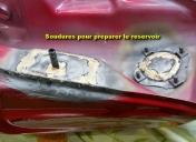 Préparation du réservoir (brasures pour arrivée d'essence)