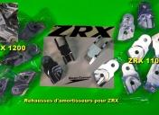 """Rehausses d'amortisseurs Ar pour ZRX 1100 et 1200 (nouvelle série) """"Raspo-Line"""""""