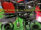 Préparation des roues après sablage et époxy noir : Rayonnage et montage des disques