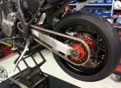 Montage roue Ar avec pneu en 160 et kit chaine neuf